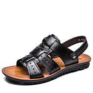 Men's Sandals Comfort Leather Spring Summer Fall Winter Casual Outdoor Office & Career Walking Comfort Rivet Flat Heel Black Brown Flat