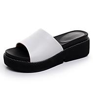 tanie -Damskie Sandały Comfort Skóra Lato Casual Comfort Koturn White Black Sliver Czerwony 5 - 7 cm