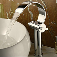 cheap Bathroom Sink Faucets-Bathroom Sink Faucet - Waterfall Chrome Centerset Two Handles One Hole