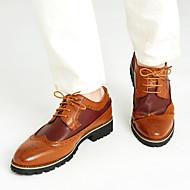 Herre sko Lær Vår Sommer Høst Vinter Komfort Bullock sko Oxfords Snøring Til Avslappet Svart Brun Gul