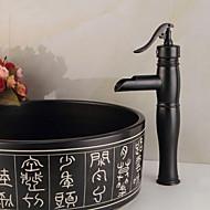 Modern Conjunto Central Cascata Válvula Cerâmica Monocomando e Uma Abertura Preto, Torneira pia do banheiro