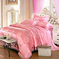 פרחוני 4 חלקים מודאלי Tencel ג'אקארד מודאלי Tencel כריות מיטה 2 יחידות כרית מיטה יחידה 1 סדין יחידה 1