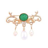 hesapli -Kadın's Broşlar Kişiselleştirilmiş Euramerican Moda alaşım Yeşil Mücevher Uyumluluk Düğün Parti Özel Anlar