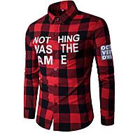 Masculino Camisa Social Para Noite Simples Outono,Estampado Algodão Colarinho de Camisa Manga Longa Média