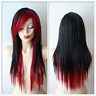Black /Wine Red Scene Hairstyle Wig Emo Long Straight Black Hair Wig for Daytime Use or Cosplay Wigs Heat Resistant