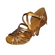 baratos Sapatilhas de Dança-Mulheres Sapatos de Dança Latina Cetim / Seda Sandália / Salto Pedrarias / Presilha Salto Agulha Personalizável Sapatos de Dança Preto /
