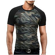 Homens Tamanhos Grandes Camiseta - Esportes Militar Estampado, camuflagem Algodão Decote Redondo Delgado / Manga Curta / Verão