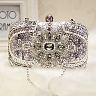 cheap Clutches & Evening Bags-Women's Bags Silk Evening Bag Sparkling Glitter Pearl Detailing for Event/Party Formal All Seasons Silver