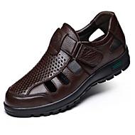 Heren Schoenen Nappaleer Lente Comfortabel Sandalen Voor Causaal Zwart Bruin