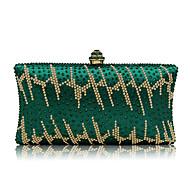 baratos Clutches & Bolsas de Noite-Mulheres Bolsas Poliéster / Náilon Bolsa de Festa Cristal / Strass Artística Verde