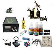 billige Tatoveringssett for nybegynnere-Tattoo Machine Startkit - 1 pcs tattoo maskiner med 1 x 5 ml tatovering blekk, Profesjonell LCD strømforsyning No case 1 x damascus stål