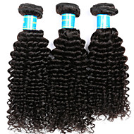 Cabelo Humano Cabelo Brasileiro Cabelo Humano Ondulado Kinky Curly Extensões de cabelo 3 Peças Preto