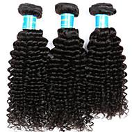 Echthaar Brasilianisches Haar Menschenhaar spinnt Kinky Curly Haarverlängerungen 3 Stück Schwarz