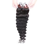 ビタの毛のブラジルの処女の髪の深い波4x4レースのクロージャーフリー部分の自然な色(8  -  20inch)