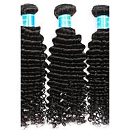 Gerçek Saç Burma Saçı İnsan saç örgüleri Derin Dalga Saç uzatma 3 Parça Siyah
