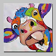 billiga Djurporträttmålningar-HANDMÅLAD Djur Fyrkantig, Abstrakt Konst Dekor / Retro Tecknat Vackert Modern Duk Hang målad oljemålning Hem-dekoration En panel