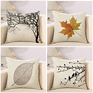 cheap Throw Pillows-4 pcs Cotton/Linen Pillow Case Pillow Cover, Botanical Classic Novelty Classical Neoclassical Euro Traditional/Classic Retro
