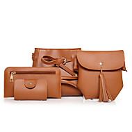 お買い得  バッグセット-女性用 バッグ PU バッグセット 4個の財布セット ブラック / ルビーレッド / Brown