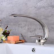 billige Sprinkle®-kraner-Baderom Sink Tappekran - Utbredt Nikkel Børstet Centersat Enkelt Håndtak Et HullBath Taps