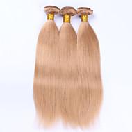 Gerçek Saç Düz Brezilya Saçı Precolored saç örgüleri Düz Saç uzatma 3 Parça Çilek Sarısı