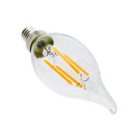 billige Stearinlyslamper med LED-ywxlight® 4w e12 led stearinlys ca35 4 leds cob dimbar dekorativ varm hvit 300-400lm 2800-3200k ac 110-130v