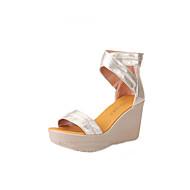 cheap Women's Sandals-Women's Shoes Microfiber Summer Gladiator Sandals Platform / Wedge Heel / Creepers Peep Toe Zipper Gold / Black / Party & Evening / Party & Evening / Wedge Heels