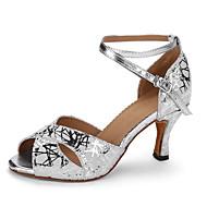billige Sko til latindans-Dame Latin Egte Lær Høye hæler Profesjonell Kubansk hæl Sølv 6 cm 7,5 cm Kan spesialtilpasses