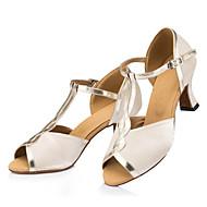 baratos Sapatilhas de Dança-Mulheres Sapatos de Dança Latina Seda Sandália / Têni Presilha Salto Baixo Personalizável Sapatos de Dança Nú / Couro / Profissional