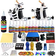 starter tattoo kits 2 cast iron machine liner & shader LCD power supply5 x tattoo needle RL 3 5 x tattoo needle RL 5 5 x tattoo needle RS