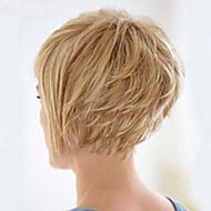 Vrouw Human Hair Capless Pruiken Strawberry Blonde / Bleach Blonde Kort Recht Bobkapsel Met pony Zijdeel