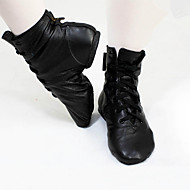 billige Jazz-sko-Dame Jazz Lær Flate Støvler Trening Flat hæl Svart Kan spesialtilpasses
