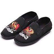 tanie Small Size Shoes-Męskie Buty Materiał Wiosna Jesień Comfort Mokasyny i pantofle Spacery na Casual Biuro i kariera Na wolnym powietrzu Black