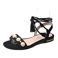Mujer Zapatos PU Primavera / Verano Confort / Innovador Sandalias Puntera abierta Remache / Hebilla Negro / Almendra / Boda / Con Lazo OvJoT