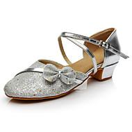 baratos Sapatilhas de Dança-Mulheres Sapatos de Dança Moderna Paetês Têni Laço / Lantejoula Salto Baixo Personalizável Sapatos de Dança Prata / Espetáculo