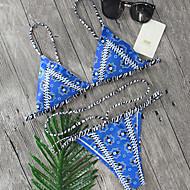 Dame Bikini Badetøj Blomster Boheme dyb halsudskæring Snøre,Trykt mønster Stropper Marineblå