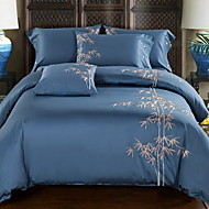 Embroidered 4 Piece Cotton Cotton 1pc Duvet Cover 2pcs Shams 1pc Flat Sheet