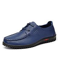 baratos Sapatos Masculinos-Homens Solas Claras Couro / Pele Primavera / Outono Conforto Oxfords Azul Marinho / Vermelho Claro / Castanho Escuro / Casamento / Festas & Noite