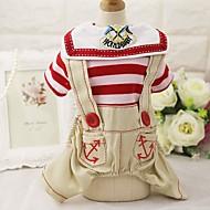 Hund T-shirt Jumpsuits Seler Bukser Hundetøj Fest Cowboy Afslappet/Hverdag Mode Stribe Rød Blå Kostume For kæledyr