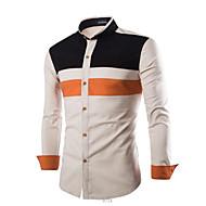 Stående krave Tynd Herre - Farveblok Bomuld, Patchwork Skjorte / Langærmet