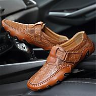 tanie Obuwie męskie-Męskie Komfortowe buty Skóra bydlęca Wiosna / Jesień Casual Mokasyny i buty wsuwane Czarny / Brązowy