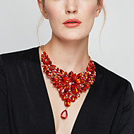 cheap -Women's Crystal Bib Statement Necklace - Flower Ladies, Baroque, Elegant Red, Light Blue, Rainbow 40+5 cm Necklace Jewelry 1pc For Wedding, Party, Anniversary, Birthday, Daily, Masquerade
