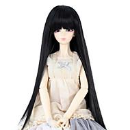 Naisten Synteettiset peruukit Suora Jet Black Otsatukalla Doll Wig puku Peruukit