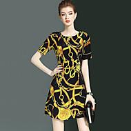 Χαμηλού Κόστους YHSP®-Γυναικεία Εξόδου Εκλεπτυσμένο Μετάξι Γραμμή Α / Θήκη Φόρεμα - Αφηρημένο, Κομψό / Στάμπα Πάνω από το Γόνατο