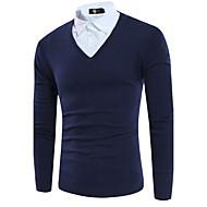 Pánské Jednoduché Ležérní Standardní Rolák Jednobarevné,Dlouhý rukáv Košilový límec Polyester Podzim Střední Lehce elastické