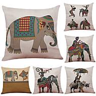 tanie Zestawy poduszki-6 szt Bielizna Cotton / Linen Poszewka na poduszkę Pokrywa Pillow, Textured Styl plażowy Wałek Tradycyjny / Classic