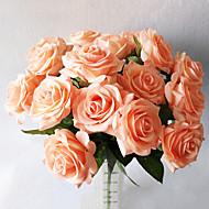 5 şube Gerçek dokunmatik Güller Masaüstü Çiçeği Yapay Çiçekler