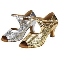 billige Sko til latindans-Dame Latin Glitter Sandaler Opptreden Strå Kubansk hæl Gull Sølv 6 cm Kan spesialtilpasses