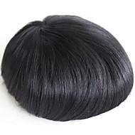 Erkekler için toupee gerçek insan saç parçaları # 1 insan saç erkek peruk