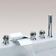 billige Rabatt Kraner-Badekarskran - Moderne / Moderne Stil Krom Udspredt Messing Ventil Bath Shower Mixer Taps / Tre Håndtak fem hull