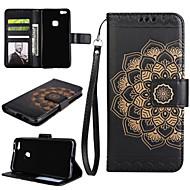 billiga Mobil cases & Skärmskydd-fodral Till Huawei P9 Lite Huawei Huawei P8 Lite Korthållare Plånbok med stativ Lucka Fodral Mandala Hårt PU läder för P10 Plus P10 Lite